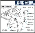 Triumph Spitfire Standard Exhaust Manifold and Fittings - Mk3 and MkIV