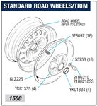 Triumph Spitfire Standard Road Wheels and Trim - 1500