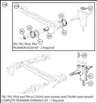 Triumph TR2-4 Complete Trunnion Overhaul Kit - TR2, TR3, TR3A and TR4 to CT6343 (wire wheels) and CT6389 (steel wheels)