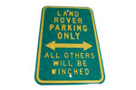 Sign - Land Rover Parking - 18 Gauge Embossed Steel 45cm X 30cm Green
