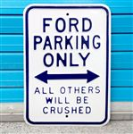 Ford Parking Only White Metal Sign 45X30CM
