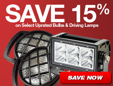 Save 15% on Select Uprated Bulbs and Driving Lamps
