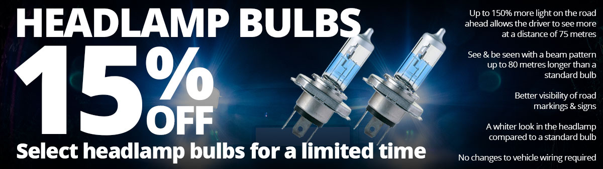 Save 15% on select headlamp bulbs