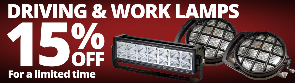 Save 15% on select driving and work lamps