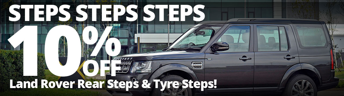 Save 10% on Land Rover Rear and Tyre Steps