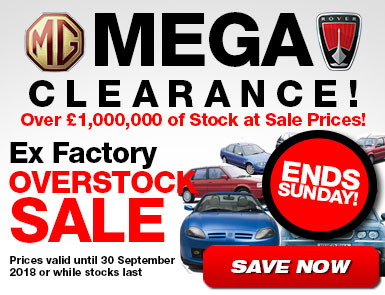 MG Rover Sale - Ends Sunday