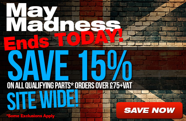 May Madness 15% Off parts orders over 75
