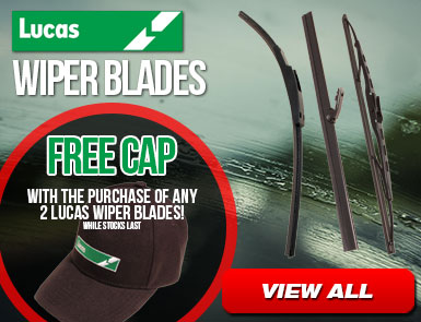 Free Cap with the purchase of any 2 lucas wiper blades - while stock lasts