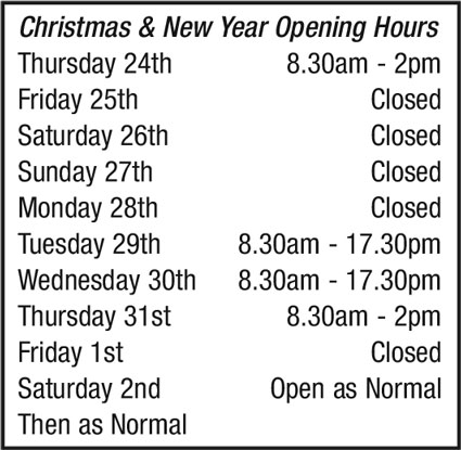 Christmas and New Year Opening Hours